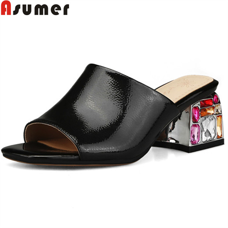 ASUMER big size summer sandals women crystal ladies prom high heels shoes female slip on genuine
