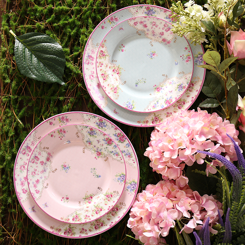 8/10inch Pastoral Style Pink Sky Blue Ceramic Bone china Afternoon Tea Pastry Fruit Plate Steak Dish Tray Cake Deep Saucer Gifts