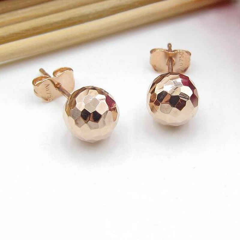Solid AU750 Rose Gold Ball Stud Earrings 1.1g pure au750 rose gold earrings women square stud earrings
