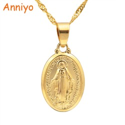 Anniyo Virgin Mary Pendant Necklace for Women/Girls,Gold Color Our Lady Jewelry Wholesale Colar Cross Trendy Necklaces #006210