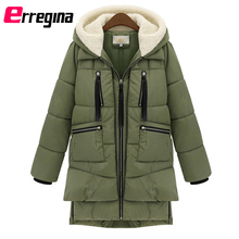 #Womens Thickened Down Jacket Female Long Cotton Military Hooded Parka Winter Warm Zipper Casual Plus Size