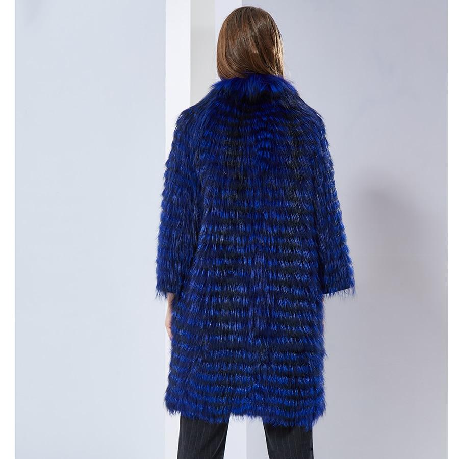 Femme Foncé Fourrure De Nouveau Natural Ruban Renard Color Vestes Style Manteaux Lady Rayé Hiver 2018 Réel Manteau Long Bleu Véritable txg0SwqnE