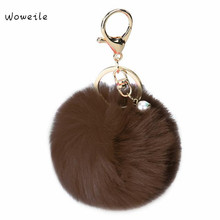 Woweile Fluffy Ball Keychain Cute Simulation Rabbit Fur Ball Key Chain For Car Key font b