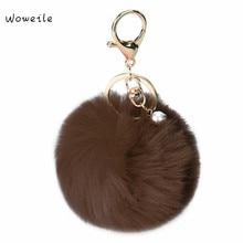 Woweile Fluffy Ball Keychain Cute Simulation Rabbit Fur Ball Key Chain For Car Key Ring Car Ornaments Bag Pendant key ring