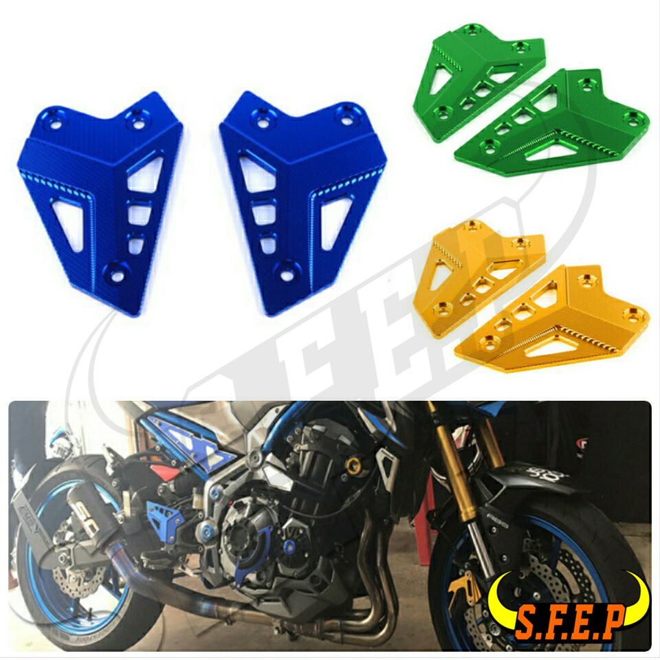 Motorcycle Accessories CNC Foot Peg Heel Protection Protective Film Mount Heel Guard Protector For Kawasaki Z900 2017-2018