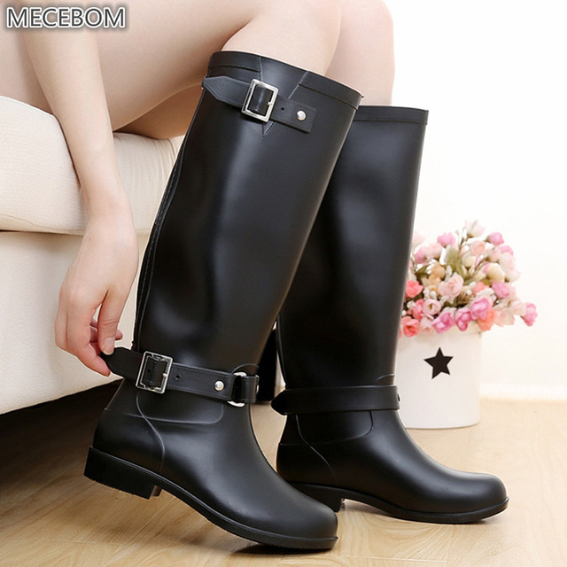 e986ee572 Winter Women Patent Leather Waterproof Rain Boots Platform Buckle Strap  High Tube Low Thick Heels Platform