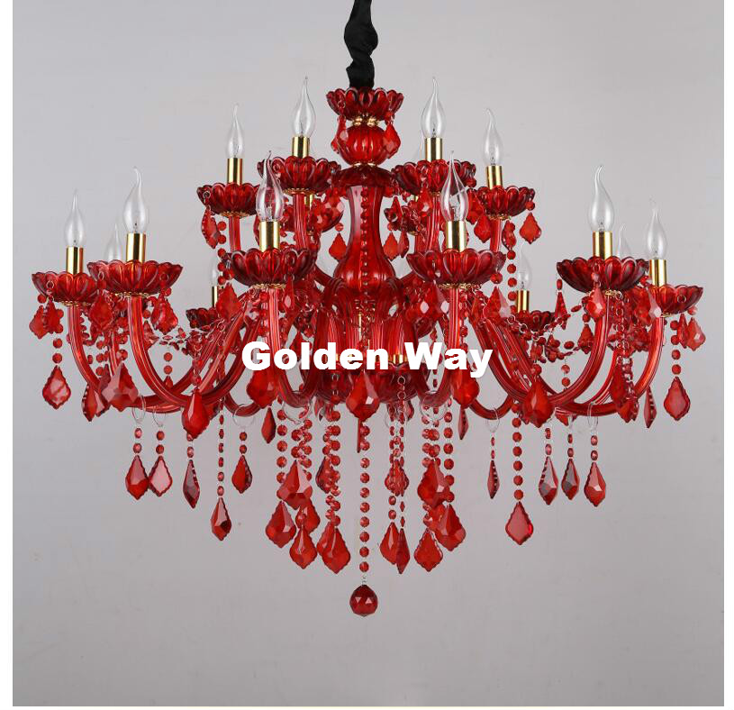 Red crystal chandelier lighting luxury crystal light modern red crystal chandelier lighting luxury crystal light modern chandeliers for bar ktv coffee shop e14 decor light fixtures lustres in chandeliers from lights aloadofball Choice Image