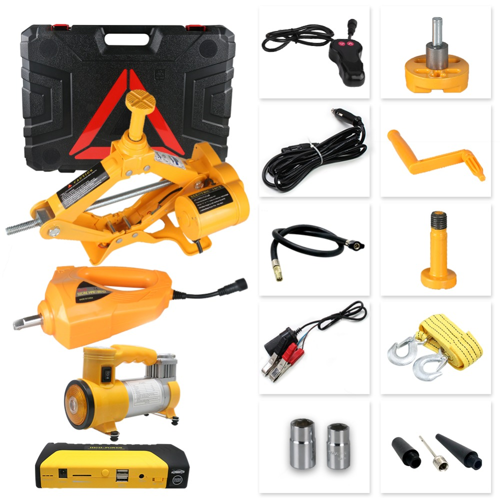 3.0T Hydraulic Car Jacks Multifunction Vehicle Lifting Electric Jacks Wrench Inflator Hammer Auto Repair Emergency Power Tools