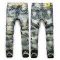Italia Famosa Jeans Nueva Marca Robin Jeans blanco hombres rectos ripped denim jeans para hombre slim fit Libre gratis