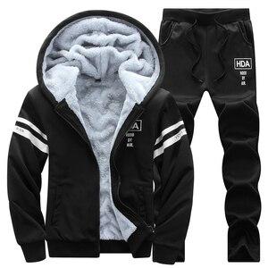Image 4 - 冬男性セットカジュアル暖かい厚手のフード付きジャケット + パンツ 2 pcセット男性インナーフリースパーカージッパートラックスーツ男性スポーツスーツ生き抜く