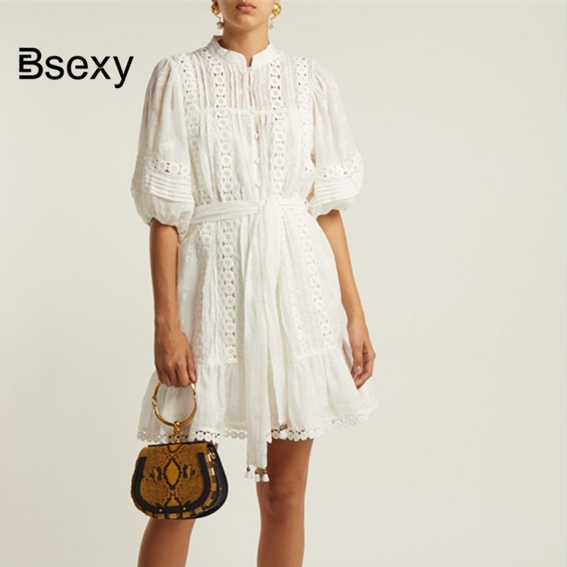 Short Dress Women white Short Sleeve Floral lace patchwork Ruffle White Dress Hollow Out Loose straight