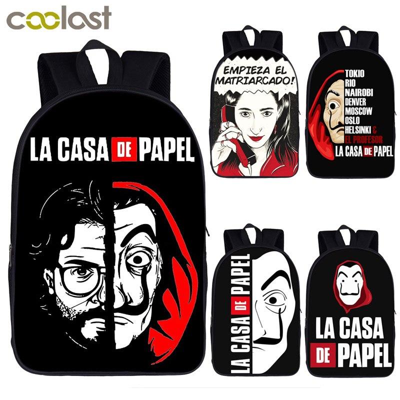 Money Heist Backpack Women Men Rucksack TV Show La Casa De Papel Teenage Boys Girls Daypack House Of Paper School Backpack Bag