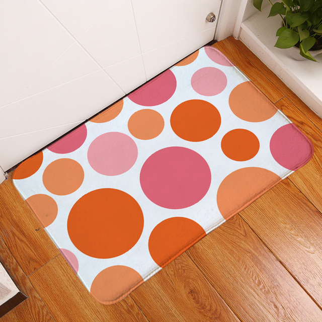 HomeMiYN 2018 New Bath Mat Colorful Circles Orange Pink Flannel Printed Rectangle Door Mat Bath Mats Anti Slip Bedroom Floor
