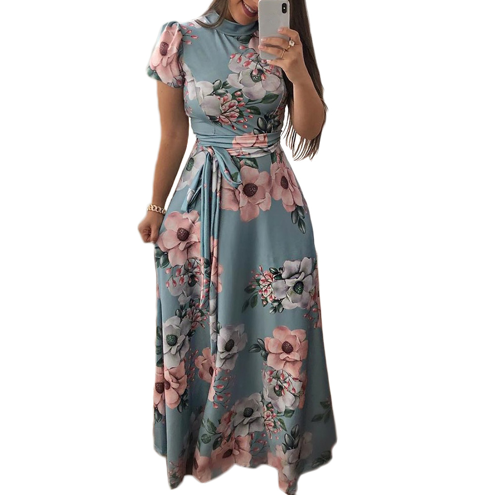 3a5cf2c985 YJSFG HOUSE Ladies Dresses Womens Autumn Beach Short Sleeve Floral Maxi  Dress Holiday Long Sundress O Neck Sashes Female Dress-in Dresses from  Women s ...