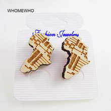 Tribal Good Wood Handmade Engraved Africa Map Stud Earrings Fashion African Lady Party Wooden Hiphop Ear Jewelry Accessories