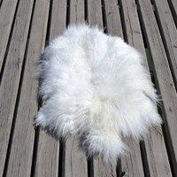 Beatiful Mongolian Tibetan Lambskin Sheepskin Fur Wool Pelt Rug Natural Color Real