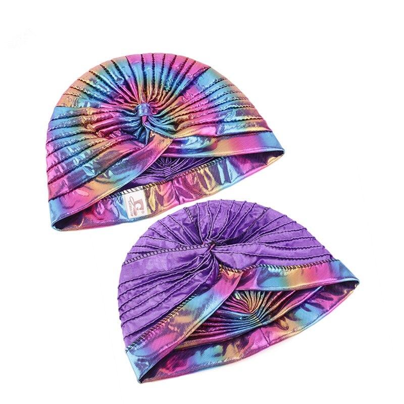 Image 5 - Helisopus Laser Silky Ruffle Turban for Women Muslim India Cap  Headscarf Chemo Alopecia Hair Loss Hat Bonnet Hair AccessoriesWomens  Hair Accessories