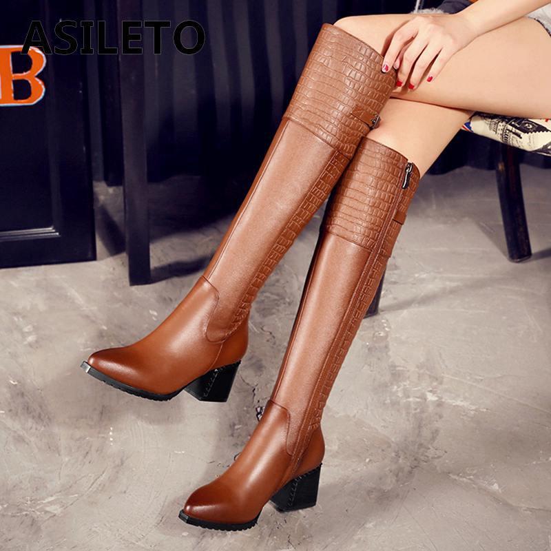 ASILETO ผู้หญิงรองเท้าหนังฤดูใบไม้ผลิฤดูหนาวรองเท้าต้นขาสูง western boots รองเท้าส้นสูงรองเท้า Botas Mujer bottes 778-ใน รองเท้าบู๊ทเหนือเข่า จาก รองเท้า บน AliExpress - 11.11_สิบเอ็ด สิบเอ็ดวันคนโสด 1