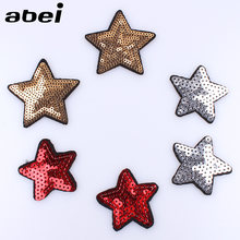 10 pcs/lot Berpayet Emas Bintang Patch Besi Pada Bordir Jahit Baju Merah Silver star Appliqued Stiker DIY Jeans Mantel Badge(China)