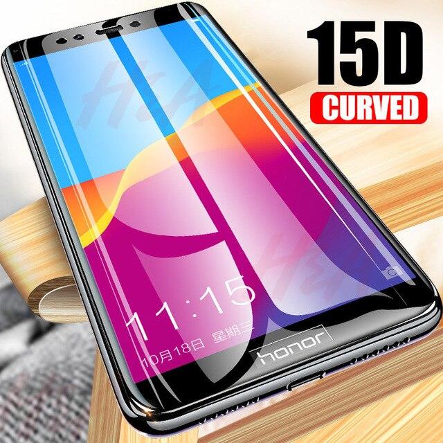 15D Cong Đầy Đủ Bìa Tempered Kính Đối Với Huawei Honor 7C 7A Pro 8X Kính Bảo Vệ bảo vệ Màn Hình Trên Các P thông minh Y5 2018 Phim