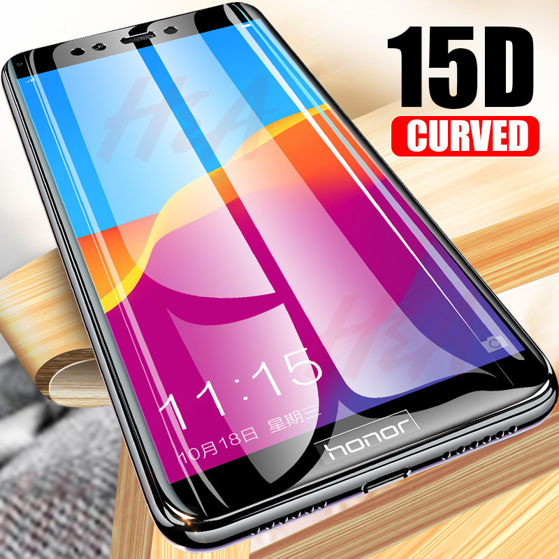 15D Curved Full Cover Tempered Glass For Huawei Honor 7C 7A Pro 8X Protective Glass Screen protector On The P Smart Y5 2018 Film-in Phone Screen Protectors from Cellphones & Telecommunications