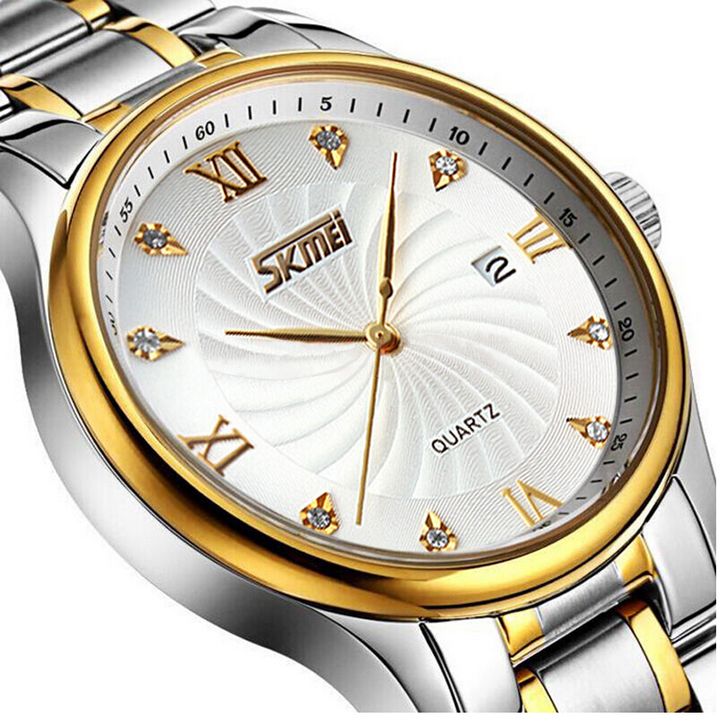 SKMEI Fashion Casual Quartz Watch Men Classic Brand Luxury Wrist Stainless Steel Relogio Masculino 9101 Role Watch Mens Watches luxury brand biden mens watches multi time zone casual quartz wrist watch men mesh stainless steel band relogio masculino