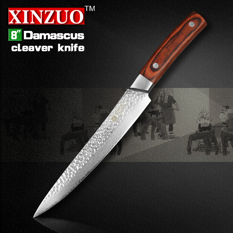 XINZUO 8 cleaver font b knife b font 67 layers Japanese Damascus kitchen font b knife