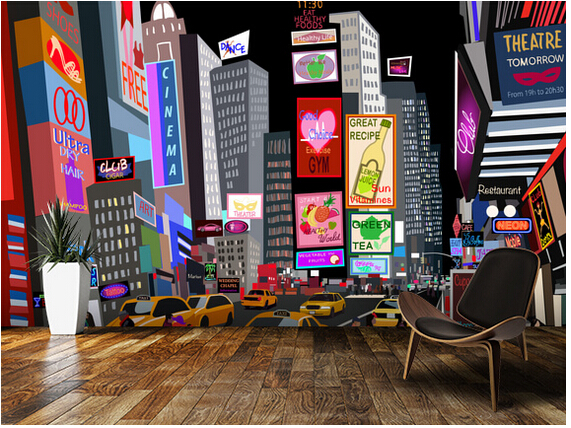 Custom 3D art wallpaper, NY Times Square Abstract murals for apartment building in the background wall vinyl papel de parede for iphone 6s plus 6s 5 5 lcd display with touch screen digitizer assembly white color free shipping