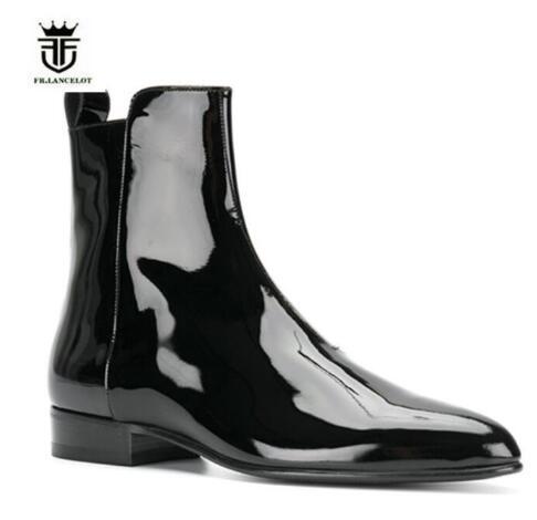 2019 FR. LANCELOT marka moda Chelsea buty ze skóry lakierowanej z boku na zamek błyskawiczny męskie buty trenerzy wysokiej góry niski obcas męskie buty Botas w Buty sztyblety od Buty na  Grupa 1