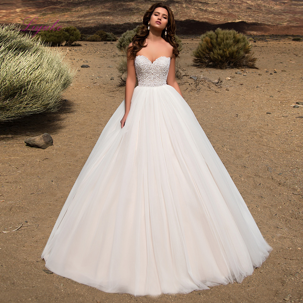 Liyuke 2019 Married Wedding Dress Ball Gown Strapless Lace Up Appliques Tulle Customer Made Size Floor-length