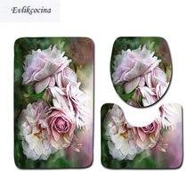 Ensemble De Tapis De Bain antidérapants, motif floral, pour Salle De Bain, toilettes, Type U, livraison gratuite, 3 pièces