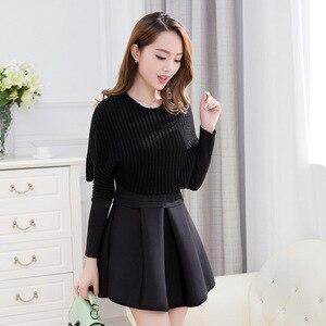 Image 3 - Primavera e invierno 2019 nueva versión Coreana de Mujeres de cultivar vestido de dos piezas de manga larga traje de moda A line vestido