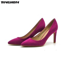 TINGHON Sexy Pumps Women Shoes Pink Flock Slip-On Shallow Wedding Party Thin Heels Pointed Toe Woman High Pump