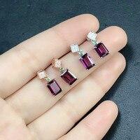 Fine Jewelry 925 Sterling Silver Natural Gems Purple Red Garnet Crystal Stud Earrings Piercing Ear Studs for Women Wedding Gift