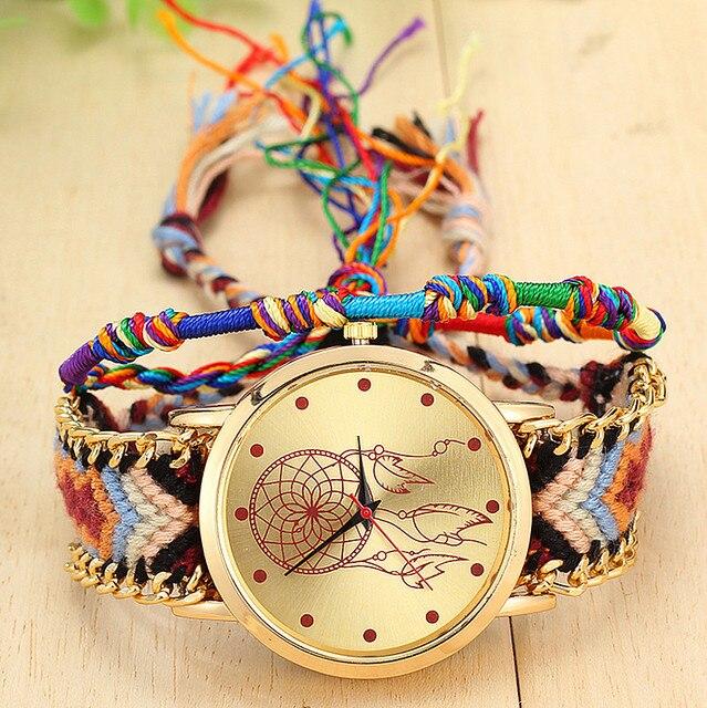 Vintage Women Native Handmade Quartz Watch Knitted Dreamcatcher Friendship  Watch Relojes Mujer Drop Shipping 66b438a9d754
