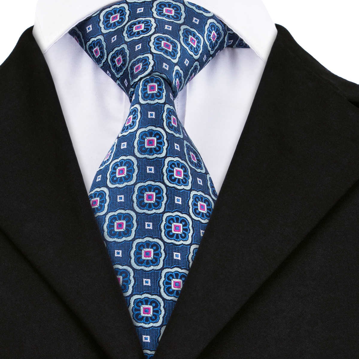 09b55bc67067 Hi-Tie Classic Blue Ties for Men Fashion Floral Jacquare Woven Silk Necktie  Wholesale Pirce