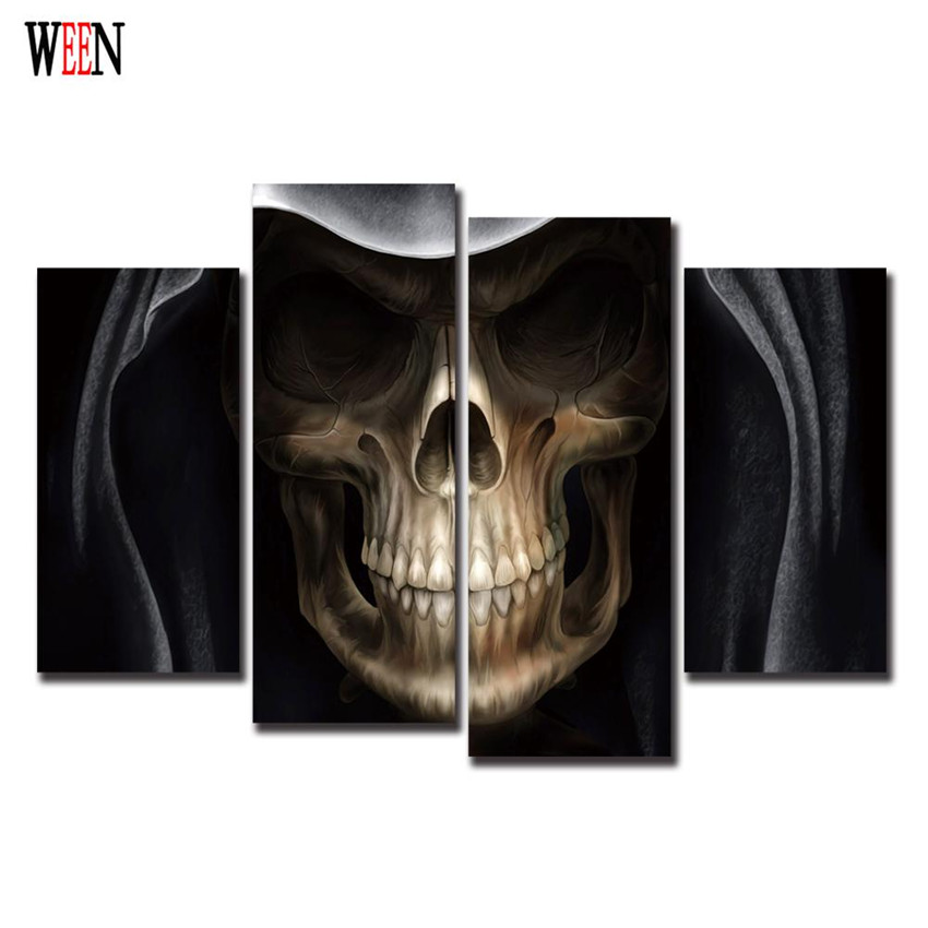 WEEN Hood Skull Man Canvas Pictures Art Cuadros Decoracion Vintage Poster Retro 4Pcs Modern Wall Printed Pictures For Home Decor