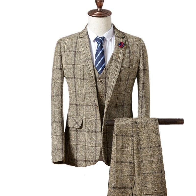 Пиджаки брюки жилет комплекты/2018 Модные мужские повседневные бутик бизнес плед пиджак пальто брюки жилет Комплект из 3 предметов