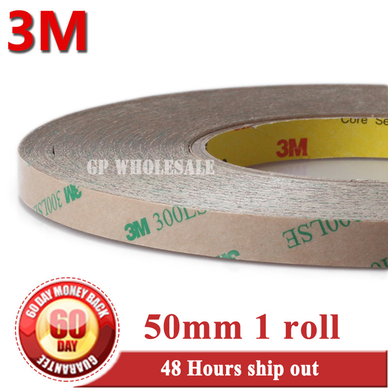 50mm*55M 3M 9495LE 300LSE PET Super Strong Sticky Double Sided Adhesive Tape for iPad Phone LCD Frame Panel Touch Screen Joint 2rolls 1mm 5mm 5m strong pet adhesive pet red film clear double sided tape no trace for phone lcd screen free shipping