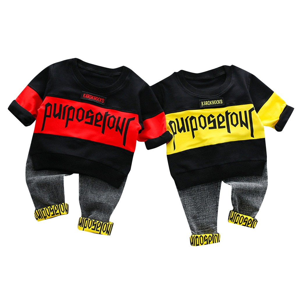 Outfits Casual Cute Costume 2019 New Fashion Toddler Kids Baby Boys Streetwear Tee Tops Jeans Pants Trousers Outfits Set