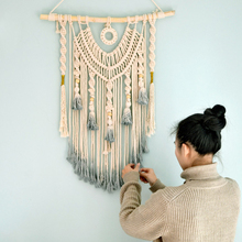 Woven Wall Hanging Macrame dream catcher Large Above Bed Decor Neutral Boho Home DecorTapestry