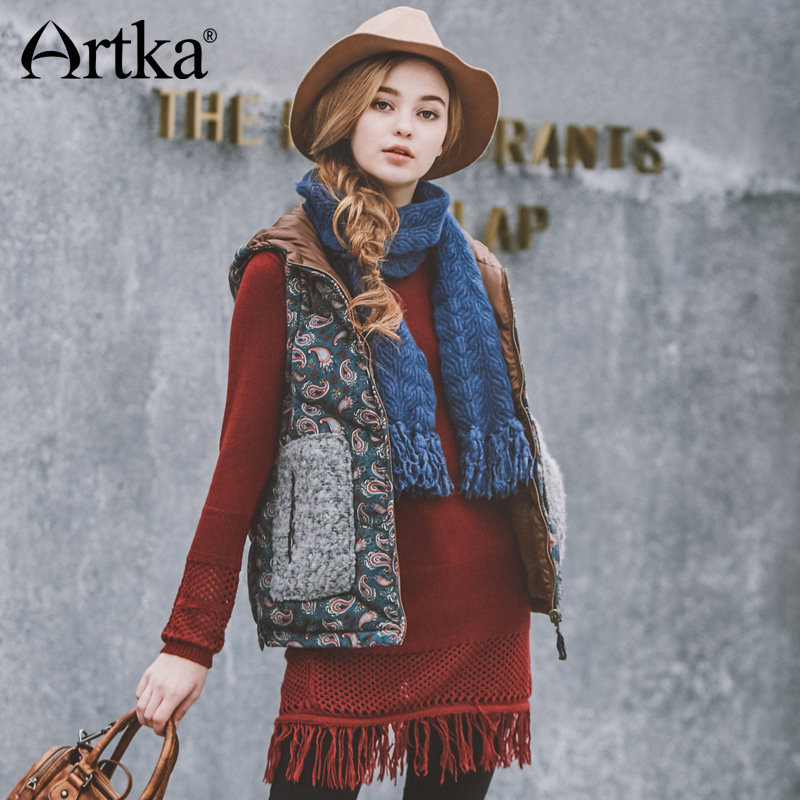 Artka Reversible Waistcoat Women Sleeveless Down Coat Winter Duck Down Vest Women Hooded Windbreaker Patchwork Raincoat DK10361Q