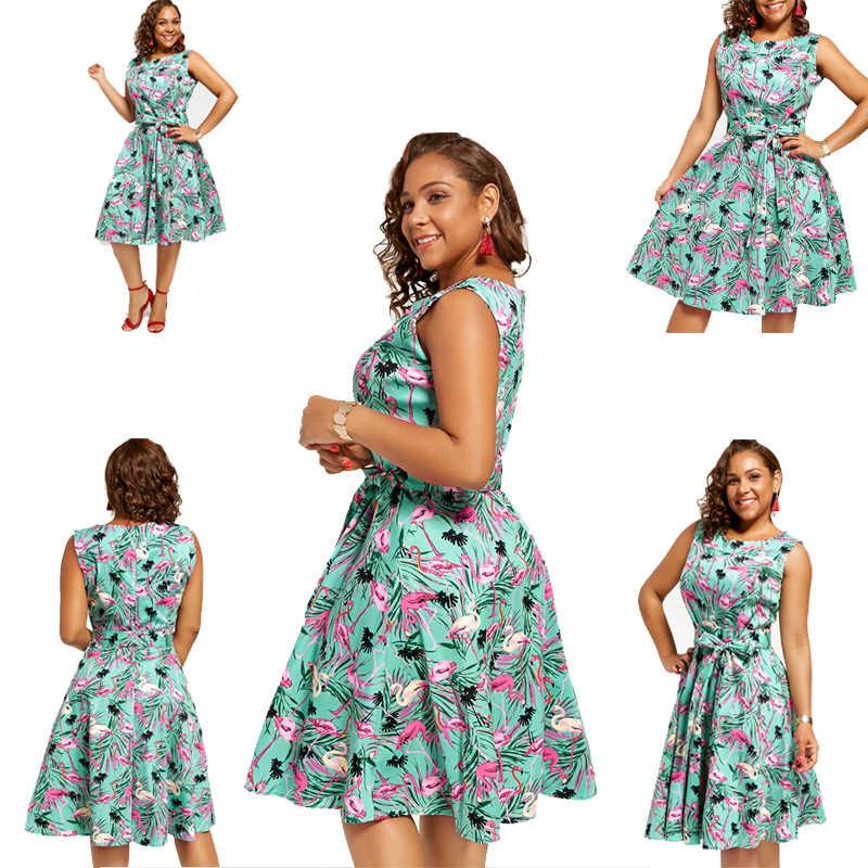 Joineles размера плюс 4XL женское ретро платье 50s 60s Винтаж рокабилли Свинг Feminino Vestidos Фламинго цветочный принт вечерние платья
