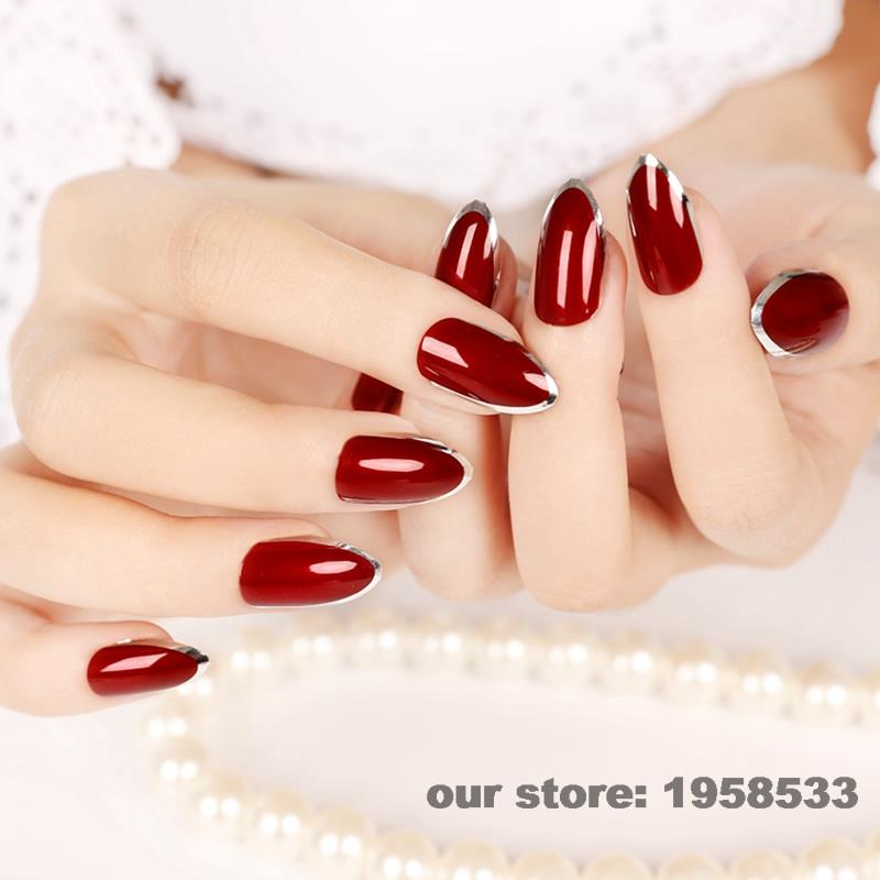 24pcs Sexy Red Silver Edge False Nails Art Tips Simple Beauty Kiss ...