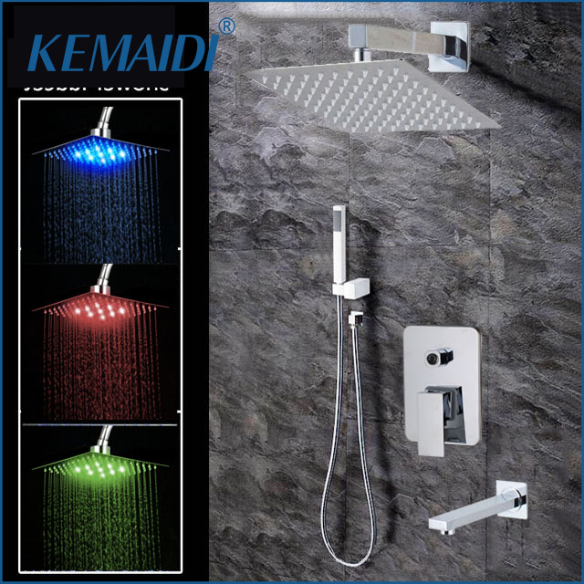 "KEMAIDI High Quality Bathroom Wall Mounted 8"" Rain Shower Head Valve Mixer Tap W/ Hand Shower Rainfall  Shower Mixer Faucet Set-in Shower Faucets from Home Improvement    1"