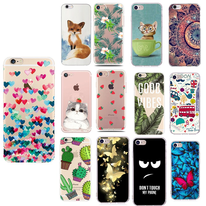 For iphone 6s case cover flower Cute Cat for iphone xs capinha carcasa for iphone 5 5s se 2020 6 s 6s 7plus 8plus x xs case