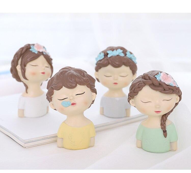 Moule en silicone mignon avatar moules à la main ange tête moule pour gâteau décoration garçon et fille avec feuilles fleurs d'argile de résine arôme sto