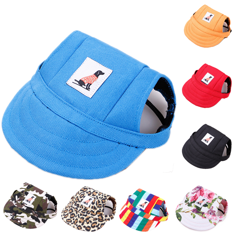 Top Hot Dog Hats Pet Accessories Hat Fashion Striped Leopard Dogs Cap with Ear Hole Baseball Hat for Teddy Breathable Cool Caps