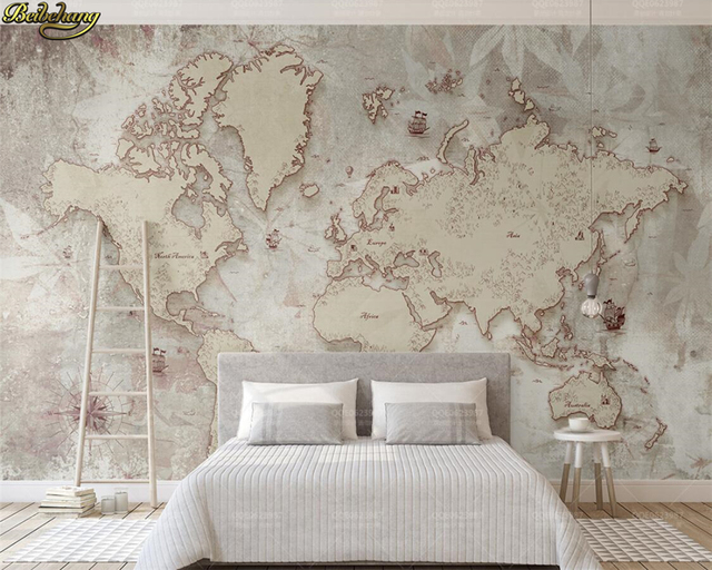 World Map Old Style.Beibehang Custom Photo Wallpaper Mural Retro Old Style American