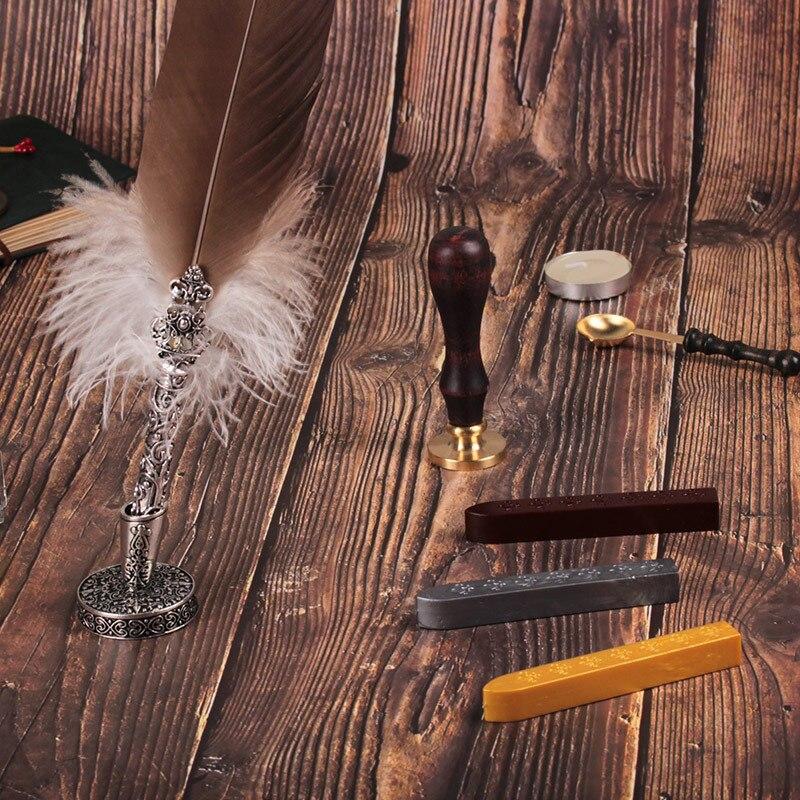 Coffret cadeau Vintage Harry Potter métal courbé naturel plume de dinde ensemble avec 5 plumes, stylo support, cire, nom sceau, Quil - 2